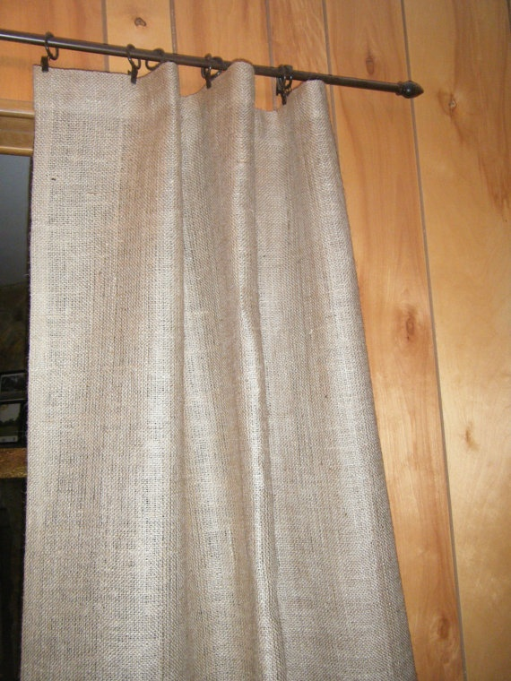 Burlap Shower Stall Curtain 38 X 72 Grommet Top With