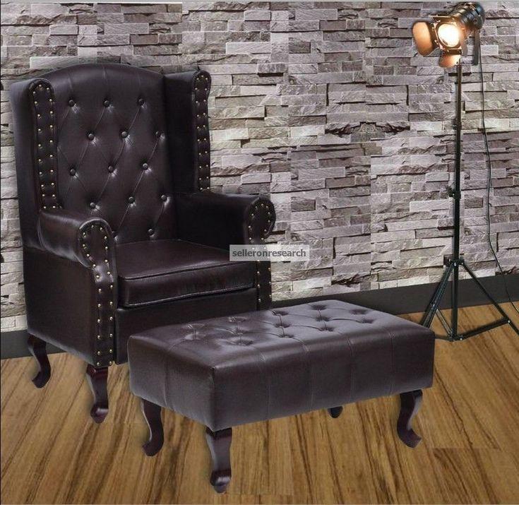 Vintage Braun Ohrensessel Leder Chesterfield Sessel Stuhl Wohnzimmer Relax Möbel