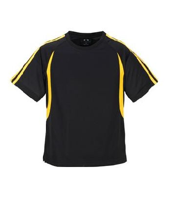 blackgold - MENS BIZCOOL FLASH TEE – T3110  Price includes 1 color, 1 location screen print  2 Color imprint available for an additional charge  • BizCool 100% Breathable Polyester single jersey knit  • Snag resistant fabric  • Contrast twin stripe from shoulder to sleeve cuff  • Contrast curved panel from raglan curve to back of tee  • Side splits  • 185 GSM