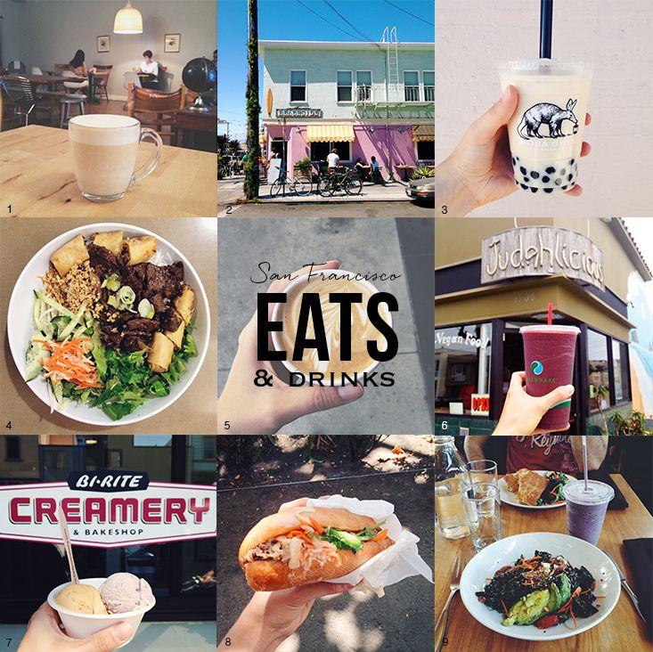Mes bonnes adresses à San Francisco :  - YakiniQ (1) - Bi-rite Creamery (7) - Loving hut (4) - Boba Guys (3) - Blue bottle coffee (5) - Judahlicious (6) - Beachside Café (2) - The plant Organic Café (9) - Saigon Sandwich (8)  Others :  - Cantata Coffee -Super duper burger  - Four barrel coffee