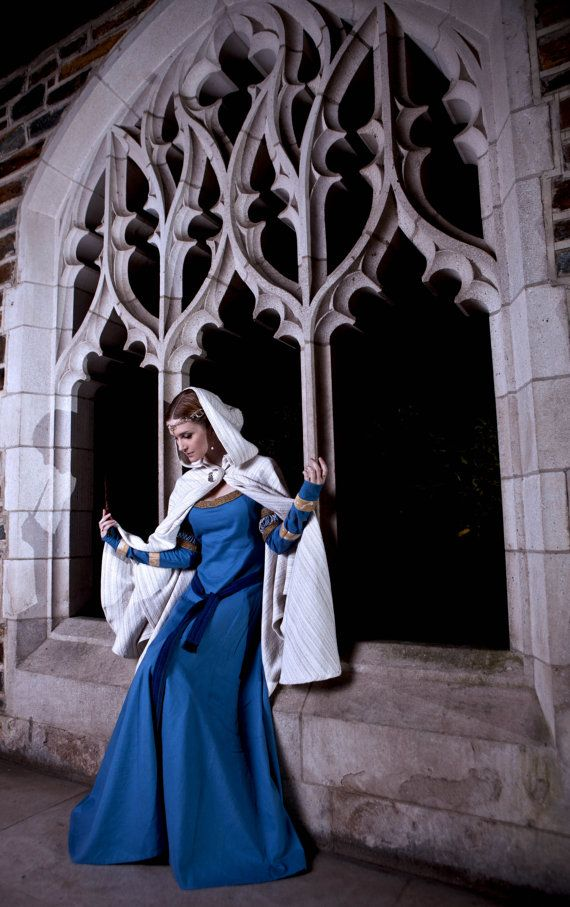 Blue Linen Medieval Gown/Rowena Ravenclaw Gown by FlaxandKite, $250.00
