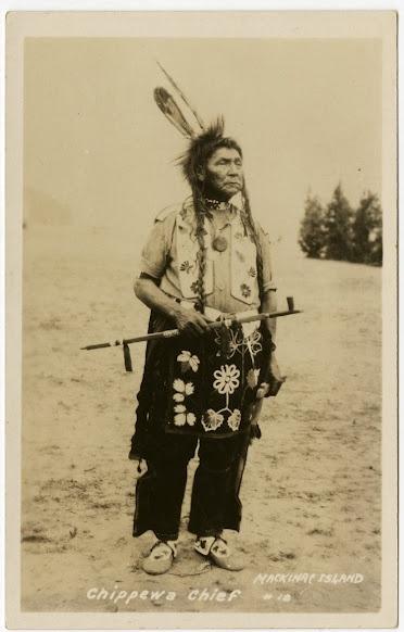 Ojibwa man at Mackinac Island, Michigan - circa 1920