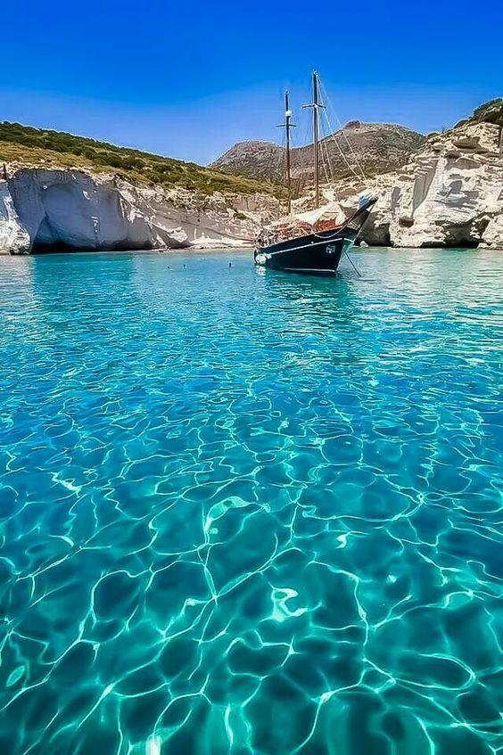 Crystal clear waters, Milos island   Cyclades, Greece.