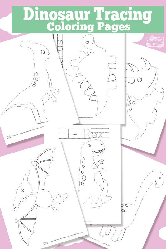 Free Printable Dinosaur Tracing Coloring Pages