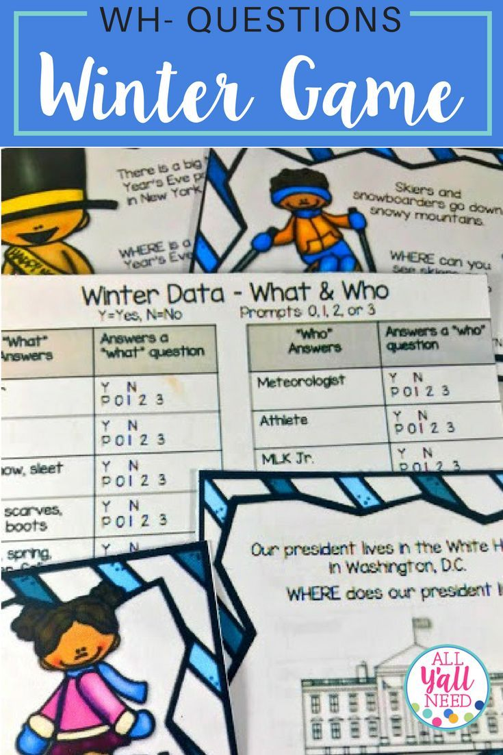 Winter – A WH- Questions Game' Questions with answers provided. Addresses listening for what, who, when, and where information. Use it in speech & language therapy or specialized settings to address IEP goals. |Vocabulary|Speech Therapy|Winter|#SLP #Vocabulary