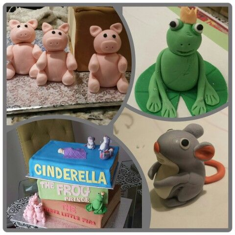 Fairy tale  book  cake: 3 little pigs, frog prince and Cinderella  mice