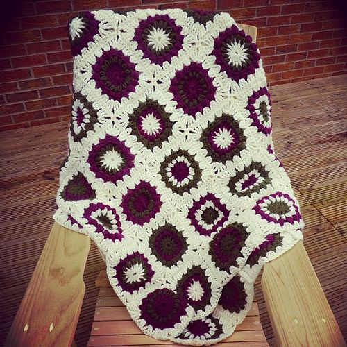 Starburst Flower Crochet Blanket Pattern : Another view of Crochet Throw following The Starburst ...