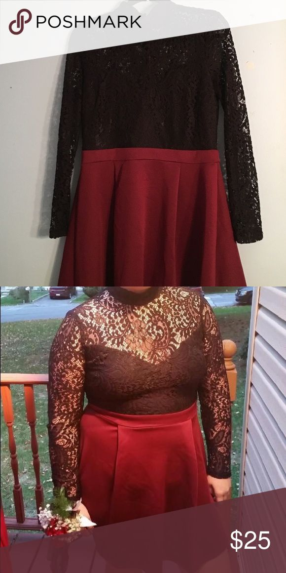 Black lace skater dress Long sleeve black lace top with maroon skater skirt bottom. Worn once B.Darlin Dresses Long Sleeve