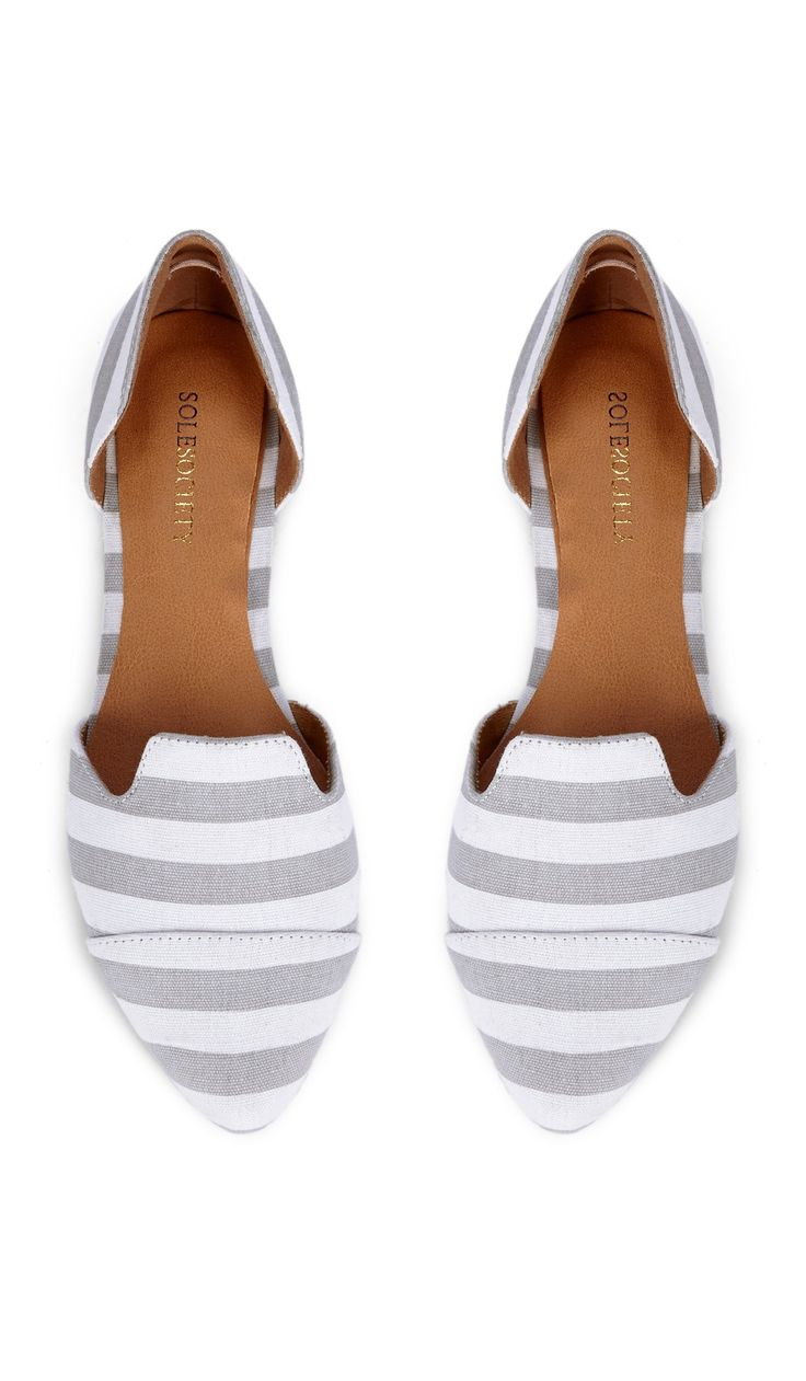 Grey striped flats find more women fashion on misspool.com. WANT these!