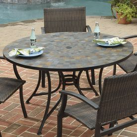 Home Styles Stone Harbor X Tile Top Black Steel Frame Round Patio Dining  Table