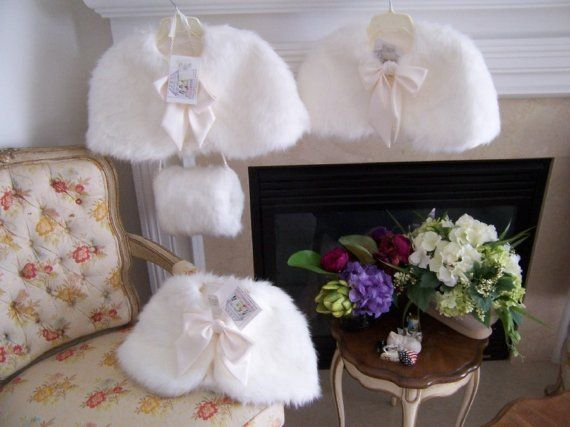 Flower Girl Hand warmer, Wedding Fur Muff, Bridal Muff Gift, Winter Flowergirl cape Accessory ~ $15.00
