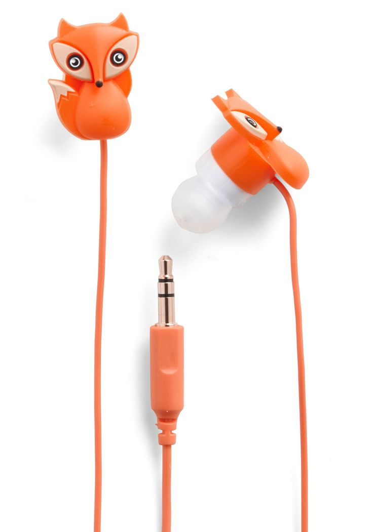 The Fox and the Sound Earbuds. Listen to sweet tunes on the sly with these clever earbuds by Decor Craft Inc. #orange #modcloth