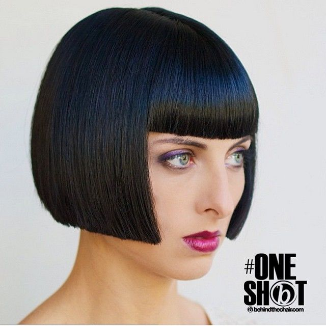 Is there any sexier look than a smooth, cheek-length bob with bangs? #hairdare