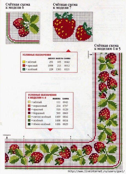 Σχέδια με φράουλες για κέντημα / Strawberry cross stitch patterns