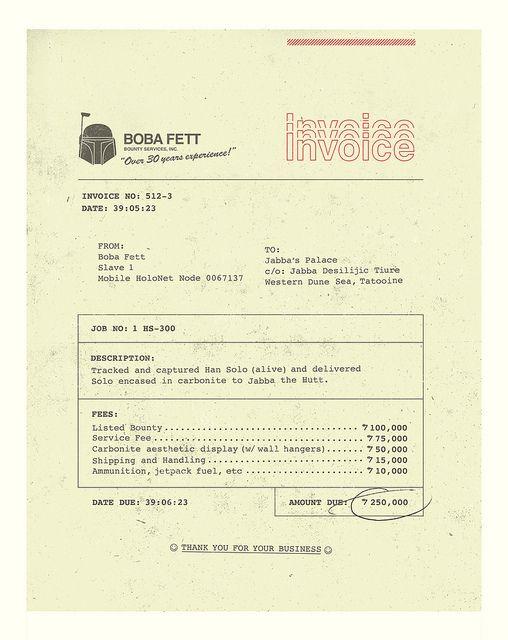 Boba Fett Invoice