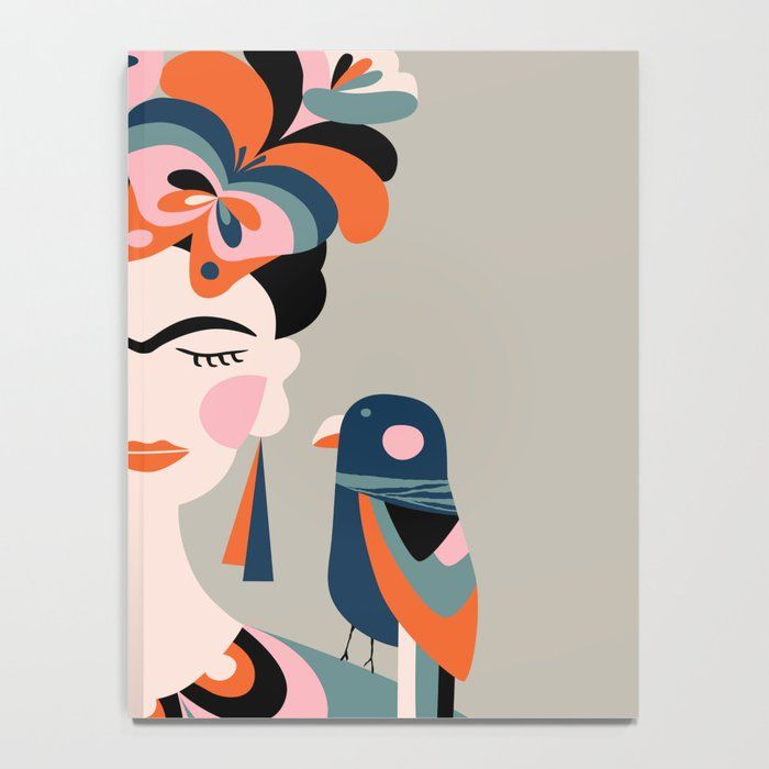 Frida Kahlo Notebook by Rachel Lee - x Lined Frida Paintings, Modern Art Paintings, Bright Colors Art, Geometric Shapes Art, Frida Art, Retro Art, Pop Art, Rachel Lee, Poster