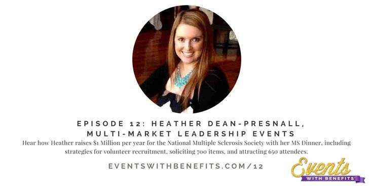 Events With Benefits podcast episode 12: Heather Dean-Presnall talks to us about running the largest silent auction in San Diego and how she raises $1 million per year through events for the National Multiple Sclerosis Society, Pacific South Coast Chapter. Organizations large and small can use the ideas she provides to make the most of your volunteers and efforts! http://www.eventswithbenefits.com/12