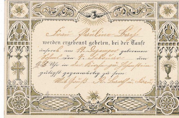 Patenbrief, Taufbrief, antik, um 1900, Karte, Andenken, Brief, Taufe, Einladung | eBay
