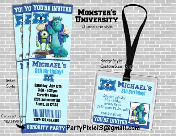Monsters University Party Invitation by PartyPixiePrintables