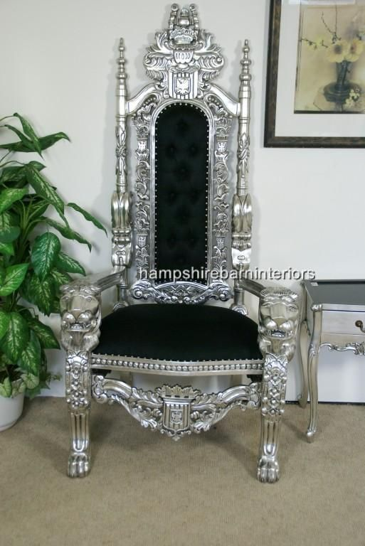 SILVER LION KING THRONE CHAIR w black fabric | Hampshire Barn ...513 x 768 | 62KB | hampshirebarninteriors.co.uk