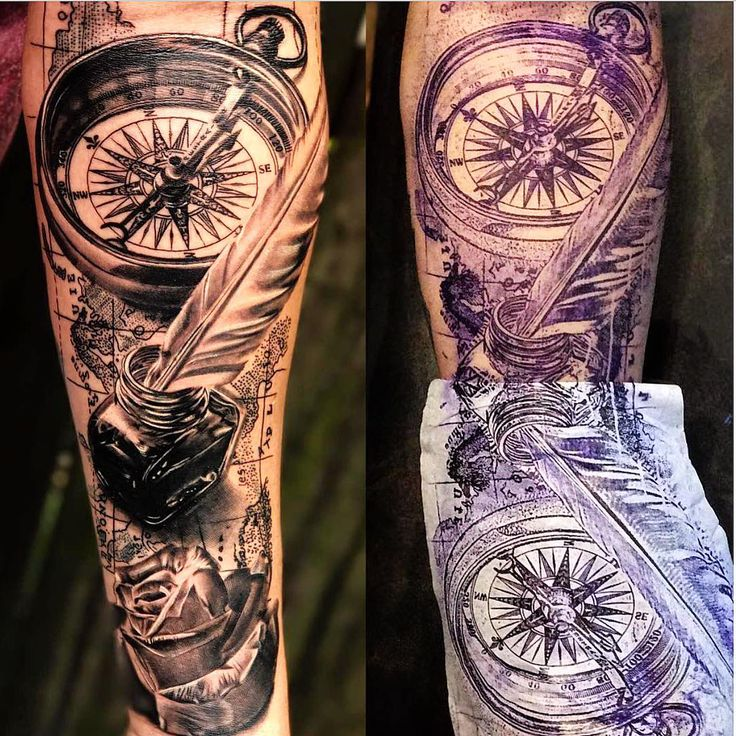 Amazing artist Camilo Pardo @camilopardo_22 awesome compass feather map rose atlas forearm tattoo! @art_spotlight @gqstyle @art @gq…