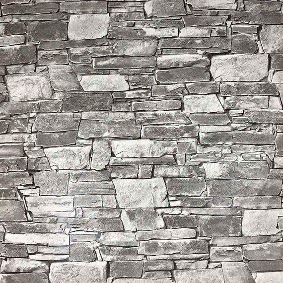 Brick Rustic Faux Stone Grey Gray Wallpaper Wall Covering Wallcoverings Contemporary Loft Modern 3d Textured Vinyl Faux Stone Walls Textured Wallpaper Unique Wallpaper
