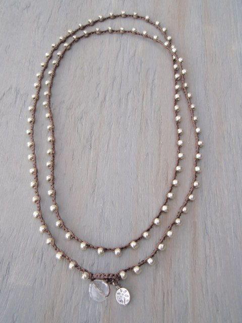 Crochet beaded wrap necklace