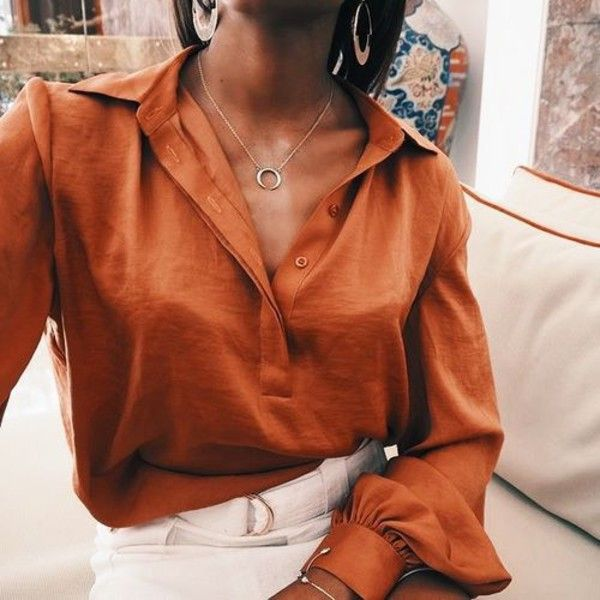 Blouse: orange camel t-shirt shirt white black beautiful outfit street style