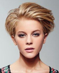 Trendy look with the hair styled back