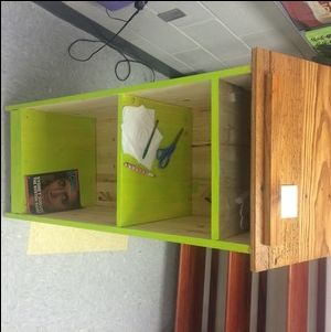 Check out this project on RYOBI Nation - Built this podium for a teacher friend. The top is 100+ year old 16inch pine salvaged from an old farm house. We had to fight bees and the elements to bring it home. I planned it down to the current size and sealed it with a glossy finish. Lime green was her choice, but I think it goes great with the natural wood color on the top. The rest of the podium was made with store bought pine. Wheels on the bottom are hidden from sight.