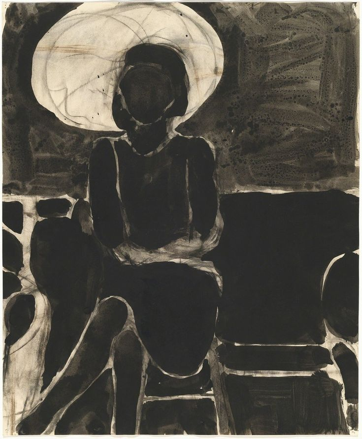 Richard Diebenkorn (American, Bay Area Figurative Movement, 1922–1993): Seated Woman, Umbrella; 1967. Ink and charcoal on paper, 17 × 13-9/10 inches (43.2 × 35.2 cm). © The Richard Diebenkorn Found…