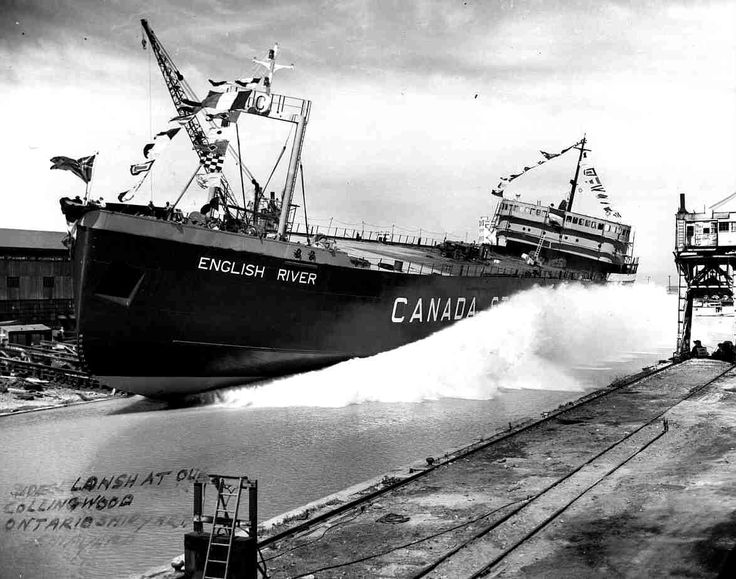 Collingwood, Ontario when they still had a shipyard - exciting to watch a ship launch