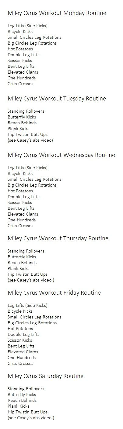 Here is a video by Casey Ho that shows the Miley Cyrus' Abs Pilates routine…