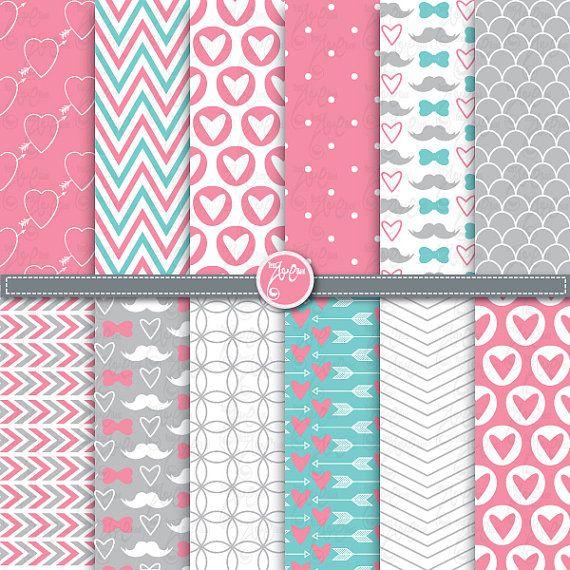 12 love digital paper packwedding digital by YenzArtHaut on Etsy, $4.00