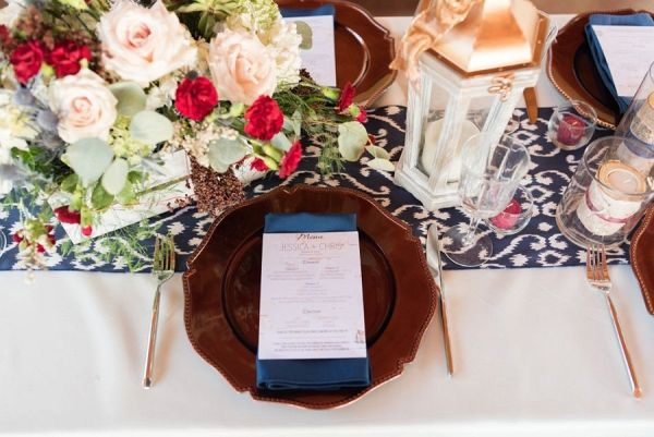 Rustic Red and Blue Place Setting | Caroline & Evan Photography on @eld_lauren via @aislesociety