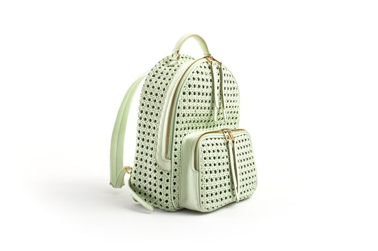Benedetta Bruzziches, spring summer 2016 mint backpack handwoven thonet!! Happily MADE IN ITALY by ARTIGIANAUTI