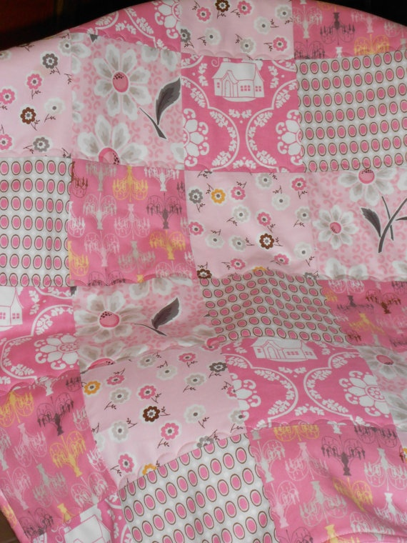 Baby or Toddler Girl Pink Quilt with Minki Pink by memorygifts, $45.00: Baby