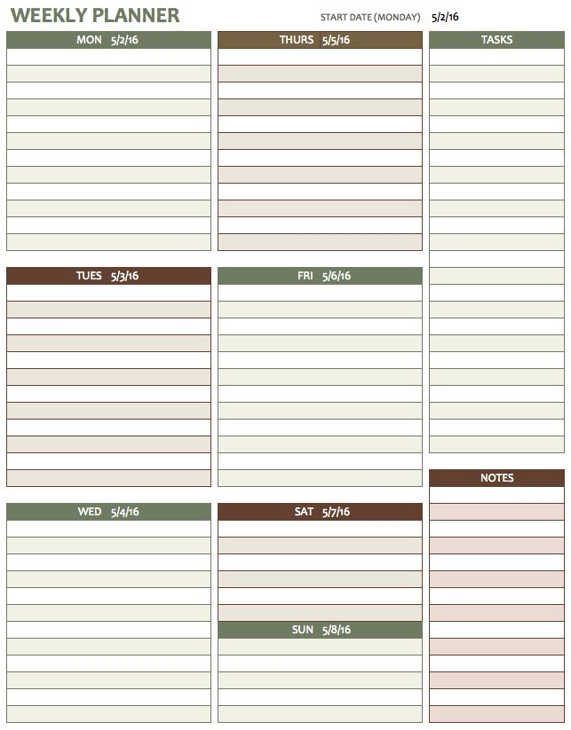 weekly schedule templates free