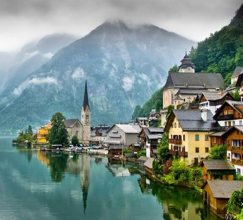 ~Lake Village, Hallstatt, Austria~ I happened to be there on a festival day, back in my backpacking Europe days in my 20's... ah, the good ol' days!