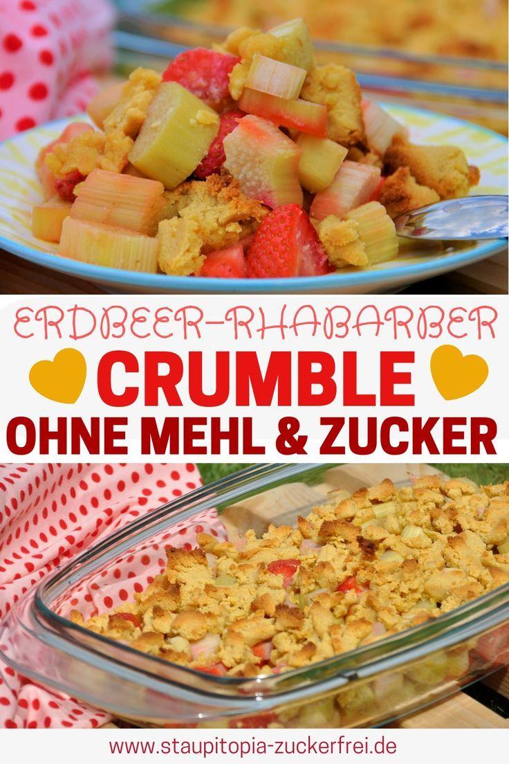 Low Carb Erdbeer Rhabarber Crumble Rezept Rezepte Erdbeer Rhabarber Und Low Carb Diat