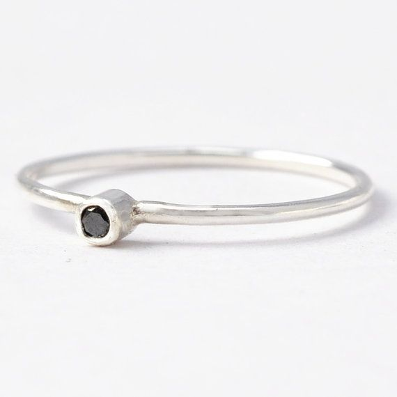 Black Diamond Stacking Ring Sterling Silver by BlueRidgeNotions