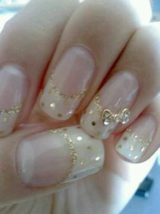 Wedding Day nails French with white and gold glitter Soft pretty manicure