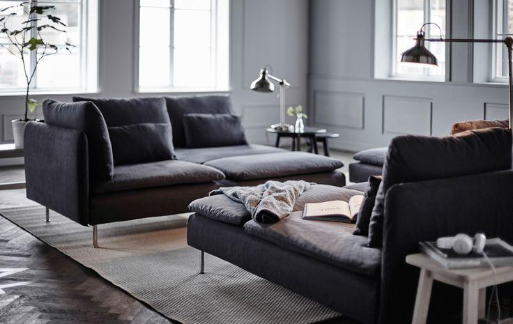 Gi' stuen mere liv med vores bedste idéer til at arrangere en modulopbygget sofa som f.eks. SÖDERHAMN sofa.