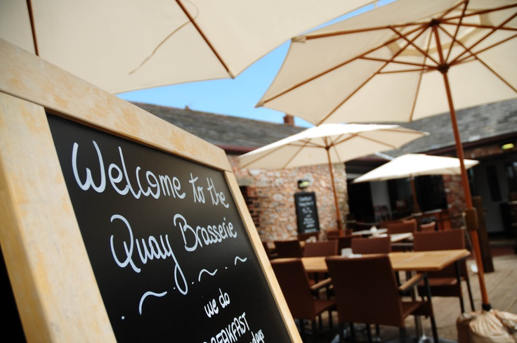 Topsham - The Quay Brasserie - Excellent for casual smart french cafe food - steak bagette and frites for lunch one of our favourites