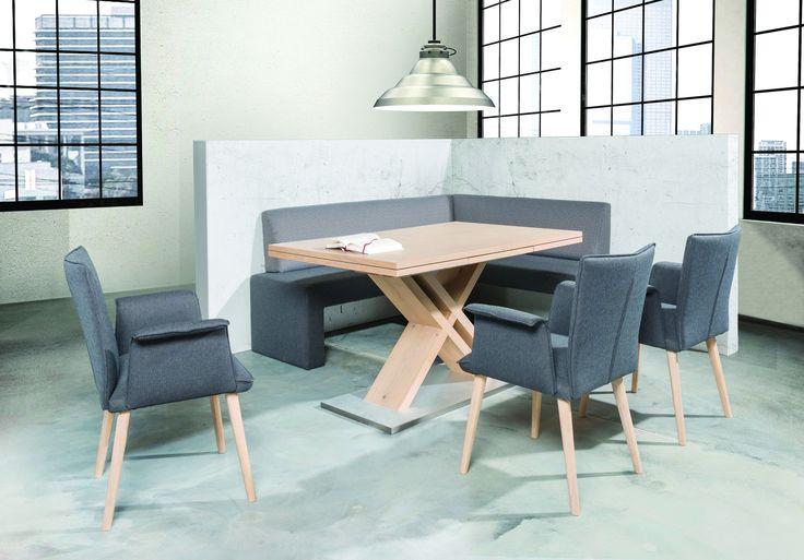 Cool industrial dining room. Modern table - chic oak X frame, and steel base. #KloseFurniture #moderntable #diningroom