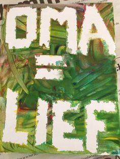 Knutselen met een canvas schilderij (van de action) met verf en tape Super leuk voor peuters of kleuters om te doen diy schilderij maken