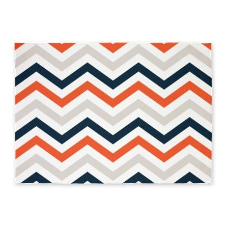 Orange, Gray, Navy Chevrons 5u0027x7u0027Area Rug