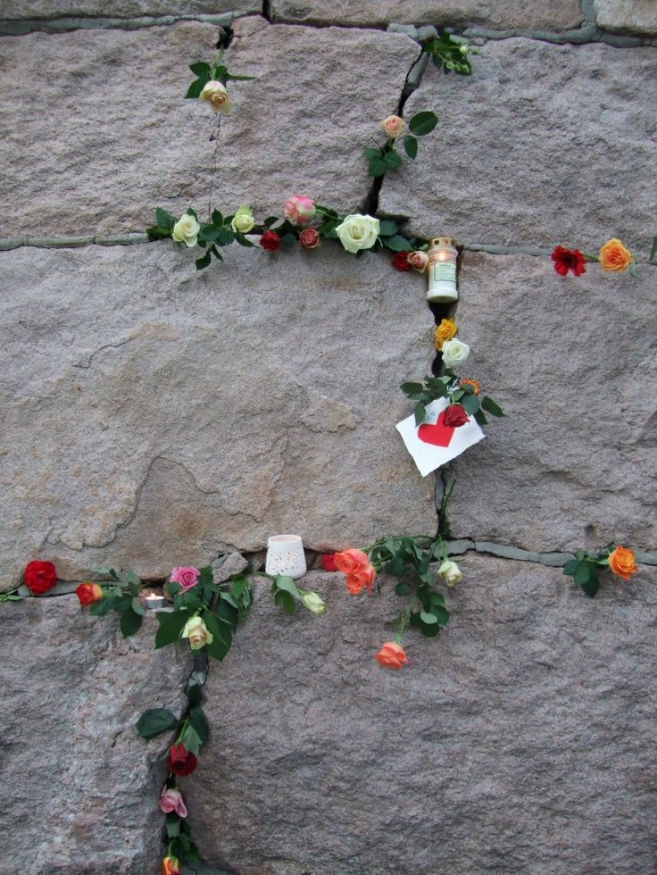 Oslo - City of Roses and Love. A picture taken 25th of july 2011, after a rose parade to show support and grief for the events of July 22.