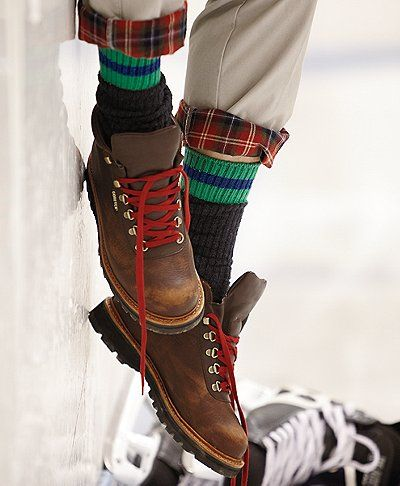 Love those red laces. Hiking Boots. These are for men though. I just LOVE men's clothes. Better design and quality!
