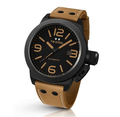 Gts 45MM automatic tan strap, black dial
